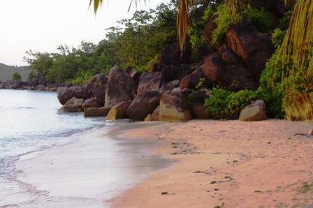 La plage de notre hôtel à Praslin