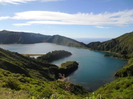 Vue sur le lago do Fogo Açores Sao Miguel